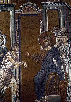 Healing the man with a withered hand - Christ healing the man with a withered hand, Byzantine mosaic.