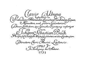 Partitas for keyboard (Bach) - Title page of Clavier-Übung I
