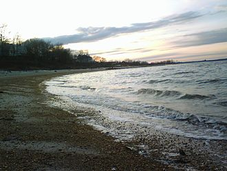 Raritan Bayshore - Cliffwood Beach at sunset, looking towards South Amboy