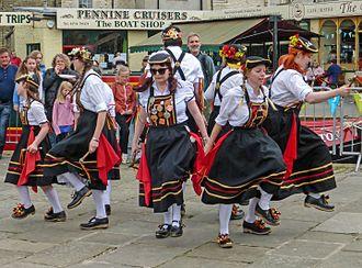 Clog dancing - A group of North-West morris dancers (Briggate Morris) in Skipton