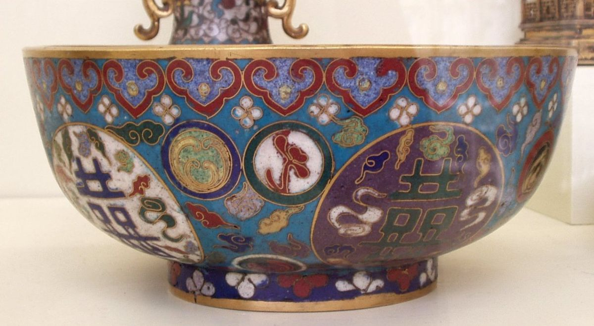 Bowl brass bottom Hand decorated porcelain
