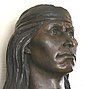 Buste de Cochise, bronze. Betty Butts. Fort Bowie National Historic Site, Arizona, États-Unis, Juillet 2004.