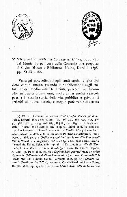 Gaetano Cogo, Statuti e ordinamenti del comune di Udine, 1899