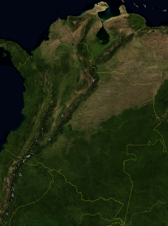 Outline of Colombia - An enlargeable satellite image of Colombia