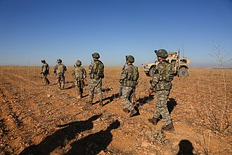 Manbij - U.S. and Turkish soldiers conduct the first-ever combined joint patrol on Nov. 1, 2018,  Manbij outskirts, Syria