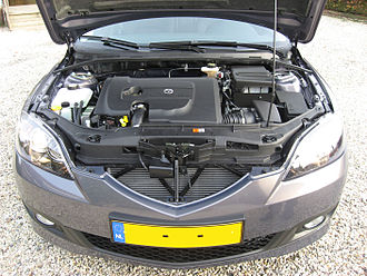 Turbo-diesel - A Mazda3 with a modern common rail 1.6 liter turbodiesel engine (PSA) with variable geometry turbocharger, intercooler, 16 valves, double overhead camshafts and piezo controlled 7-stage direct injection.
