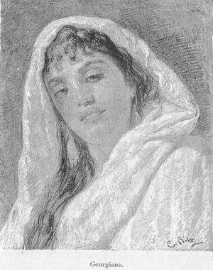 Cesare Biseo - Georgian Woman, by Biseo from De Amicis'   Costantinopoli (1882 edition)