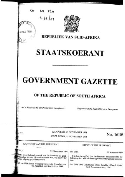 File:Constitution of the Republic of South Africa Sixth Amendment Act 1994 from Government Gazette.djvu
