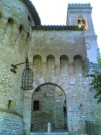 Gibbeting - Hanging cage at the main gate to Corciano, Province of Perugia, Italy