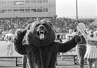 Touchdown (mascot) - A costumed Touchdown at Homecoming 1987. Note the Schoellkopf West stands behind the mascot, which were demolished in 2016.