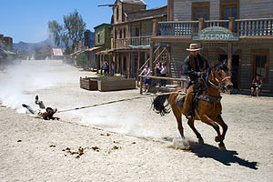 English: Stunt show at Texas Hollywood, Almeria