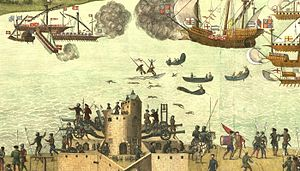 Southsea Castle - The Cowdray engraving of the castle during the Battle of the Solent, based on an original painting from between 1545–48
