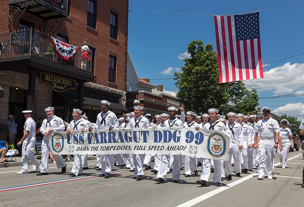 Crew of the USS Farragut DDG99 march in the 2017 Bristol Fourth of July parade