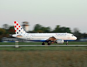 Transport in Croatia - National carrier Croatia Airlines taking off at Franjo Tuđman Airport