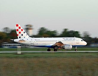 Transport in Croatia - National carrier Croatia Airlines taking off at Franjo Tuđman Airport