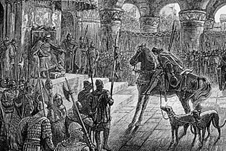 King Arthur - Culhwch entering Arthur's court in the Welsh tale Culhwch and Olwen in a modern illustration by Alfred Fredericks (1881)