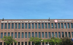 Curie Metropolitan High School at Archer Avenue and Pulaski Road.