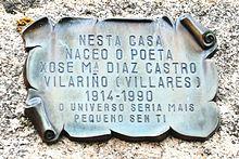 Casa natal no Vilariño dos Cregos.