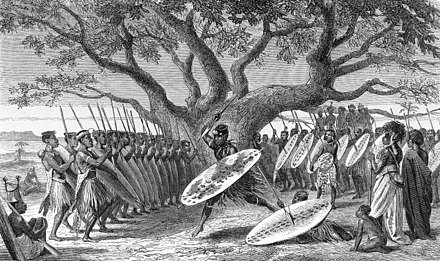 Zulu dance, from Livingstone's Narrative of an Expedition to the Zambesi and its Tributaries Dance of Landeens.jpg