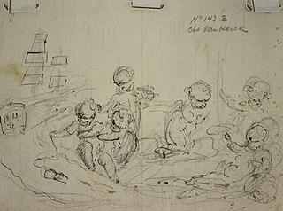 Sketch of five cherubs