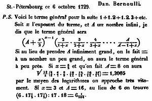 Gamma function - Daniel Bernoulli's letter to Christian Goldbach, October 6, 1729