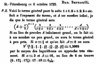 Gamma function - Daniel Bernoulli's letter to Christian Goldbach, October 6, 1729