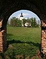 Danków widok z bramy zamkowej na kościół św. Stanisława 30.04.11 p.jpg