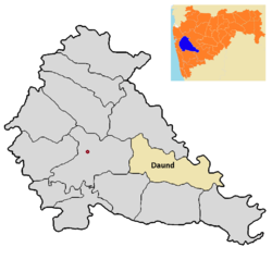 Location of Daund  in Pune district in Maharashtra