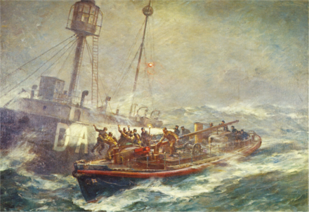 1974 postage stamp marking the RNLI's 150th anniversary (rescue of Daunt Lightship's crew by Ballycotton lifeboat RNLB Mary Stanford. Artist: B. F. Gribble) DauntRescueGribble.png