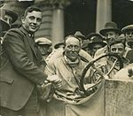 Dave Carrigan at wheel of a Willys Knight car, 1926 (4361745270).jpg