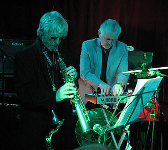 Mick Gallagher - Mick Gallagher and Davey Payne, with The Blockheads, at Water Rats, July 2011