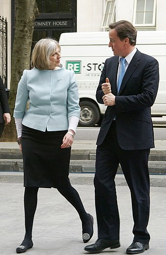 May with her then-leader David Cameron, May 2010 David Cameron's visit2.jpg