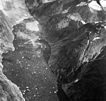 Dawes Glacier, tidewater glacier terminus and lots of icebergs and debris in the water, August 29, 1967 (GLACIERS 5384).jpg