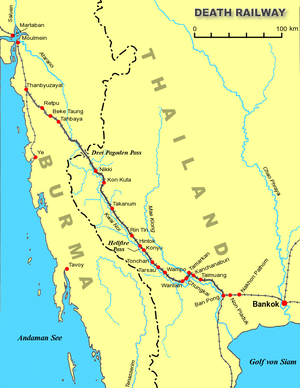 broen over kwai kart Thailand–Burma jernbanen – Wikipedia