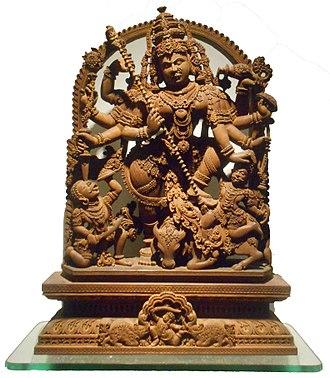 Bengali Hindus - Devi Durga Sculpture by Sandalwood. Found in Murshidabad, West Bengal. Now kept in Indian Museum, Kolkata.