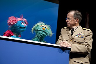 Rosita (Sesame Street) - Rosita and Jesse with US Chairman of the Joint Chiefs of Staff Adm. Mike Mullen