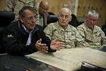Defense.gov News Photo 120313-D-TT977-471 - Secretary of Defense Leon E. Panetta holds a meeting with Afghan provincial leaders at Camp Bastion Afghanistan on March 14 2012. Panetta is on.jpg