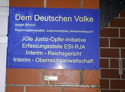 Sign at the entrance of the home of a supporter of the Reich Citizens' Movement