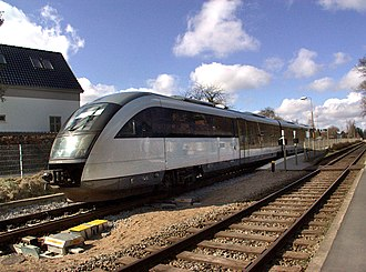 Svendborgbanen - A class MQ multiple unit at Fruens Bøge station.