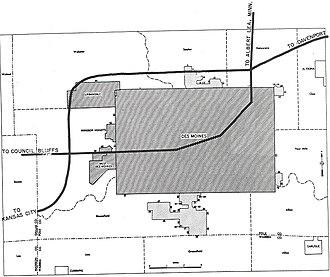 Interstate 235 (Iowa) - Image: Des Moines, Iowa 1955 Yellow Book