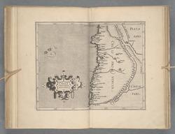 Kort over Chile fra 1597 af Cornelius van Wytfliet fra Det Kgl. Bibliotek.