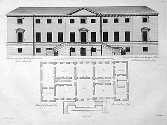 Devonshire House - Elevation and plan from Vitruvius Britannicus, iv (1767)