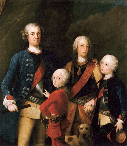 The sons of Frederick William I and Sophia Dorothea; left to right Frederick, Ferdinand, Augustus William and Henry. Painting by Francesco Carlo Rusca, 1737 Die Sohne von Friedrich Wilhelm I.jpg