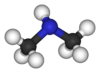 Ball and stick model of dimethylamine