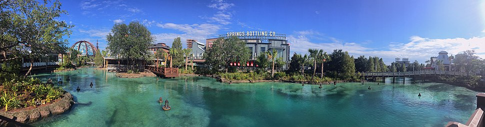 Panoramic view of the springs and the Landing from Town Center
