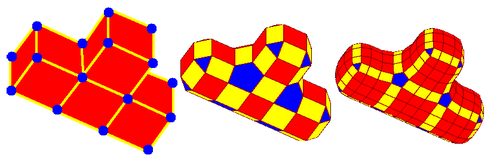 Two Doo–Sabin refinement iterations on a T-shaped quadrilateral mesh.