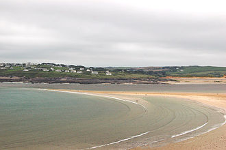 Shoal - The Doom Bar sand bank extends across the River Camel estuary in Cornwall, England, UK