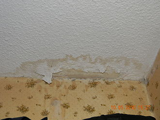 Drywall - Drywall water damage in a closet.