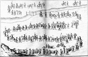 Dutch missions to Edo - The Dutch procession to the Shogun's court. A 17th-century European engraving depicting a Dutch tributary embassy to the Tokugawa's castle.