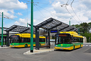 Trolleybuses in Tychy - Two Solaris Trollino 12MB at Tychy railway station